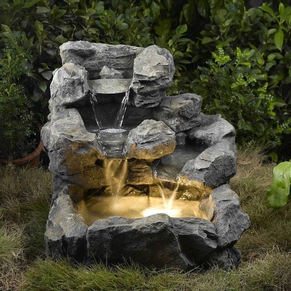 Rock Creek Illuminated Cascading Water Fountain 14034606