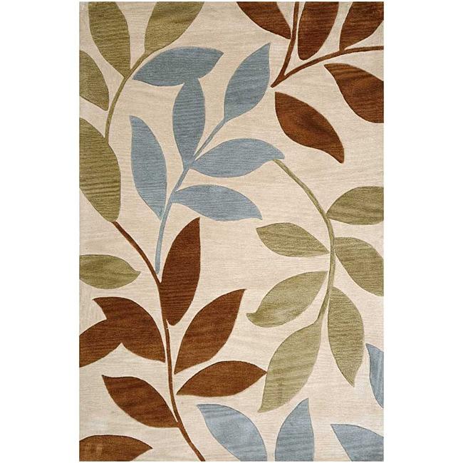 Hand Tufted Ivory Leaf Rug 3 6 X 5 6 14037497