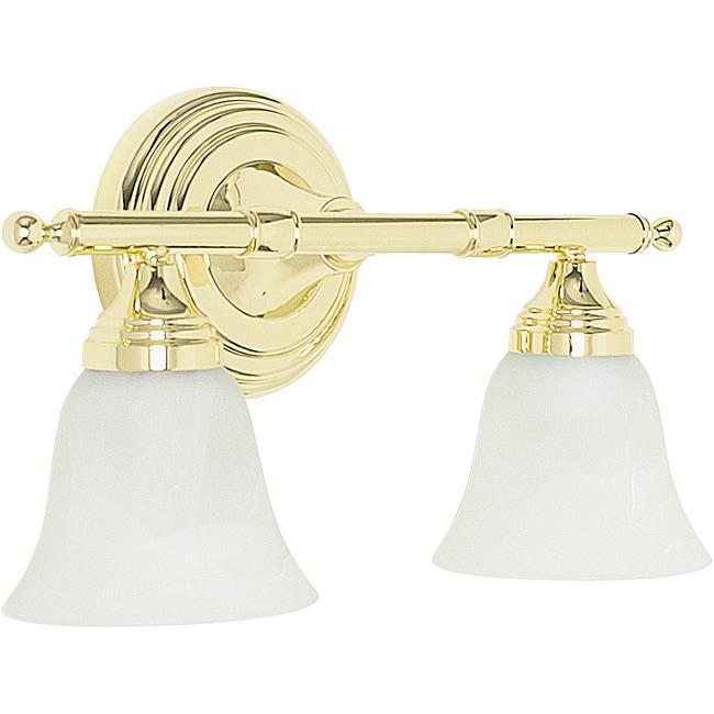 Polished brass two light vanity light fixture 14037655 - Polished brass bathroom lighting fixtures ...