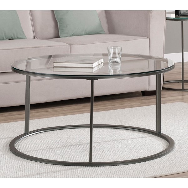 Low Metal And Glass Coffee Table: Round Glass Top Metal Coffee Table