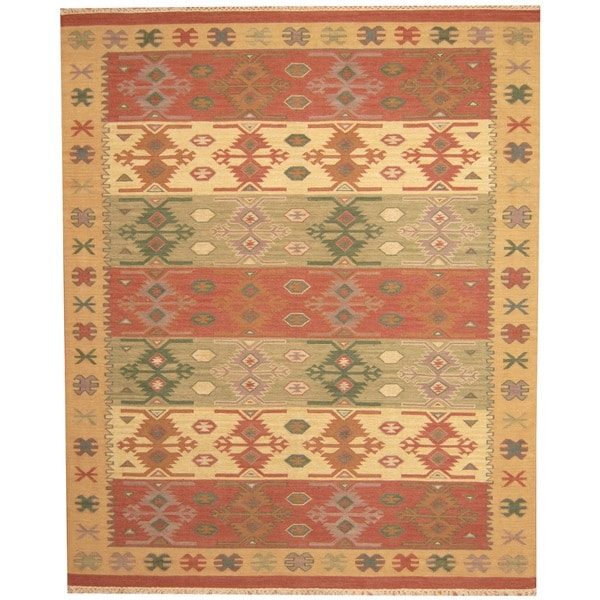 Herat Oriental Indo Hand Woven Kilim Green Red Wool Area