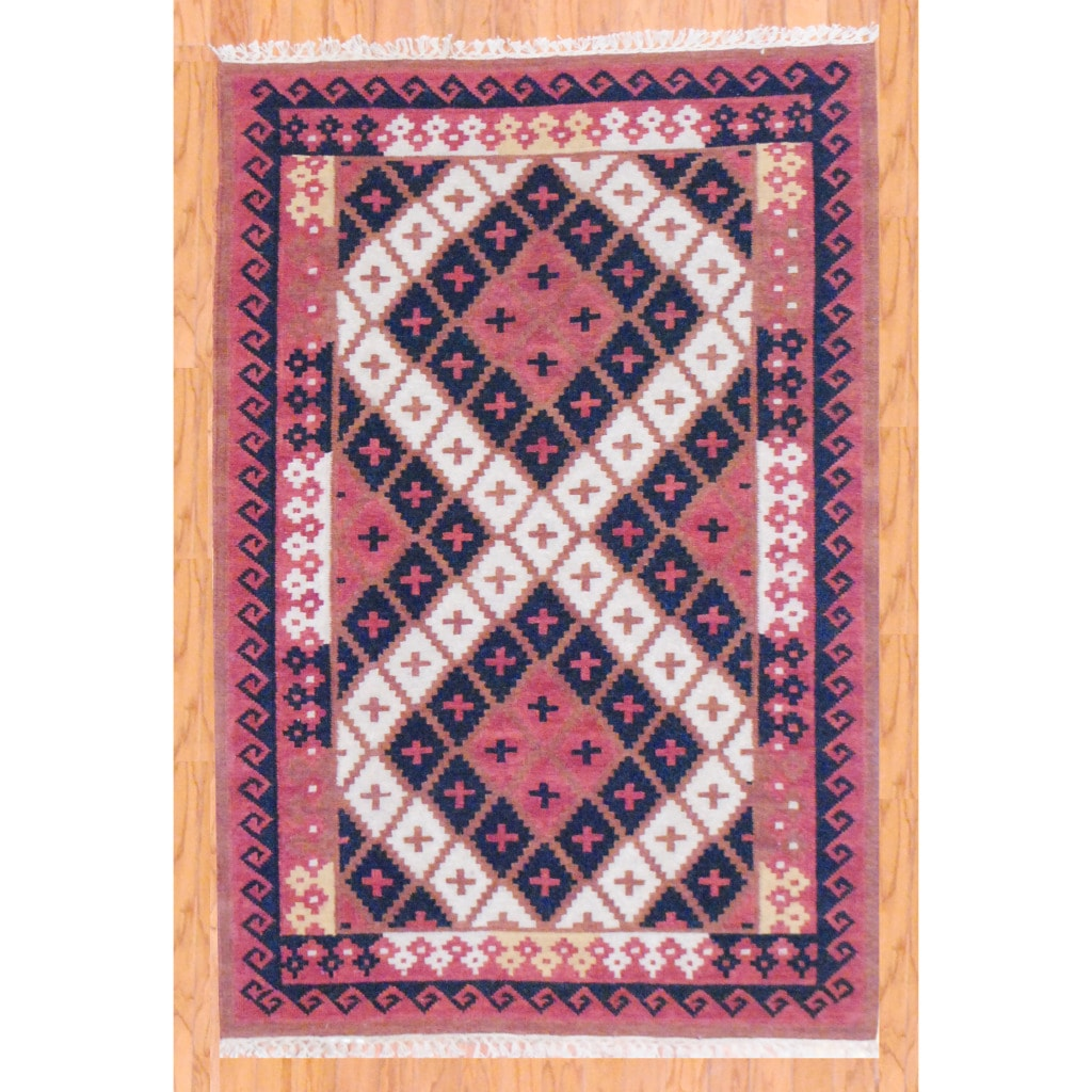 Indo Hand-knotted Kilim Rust And Black Wool Rug (4 X 6