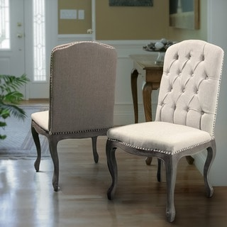 Christopher Knight Home Beige Tufted Fabric Weathered Hardwood Dining Chairs Deals Table040209