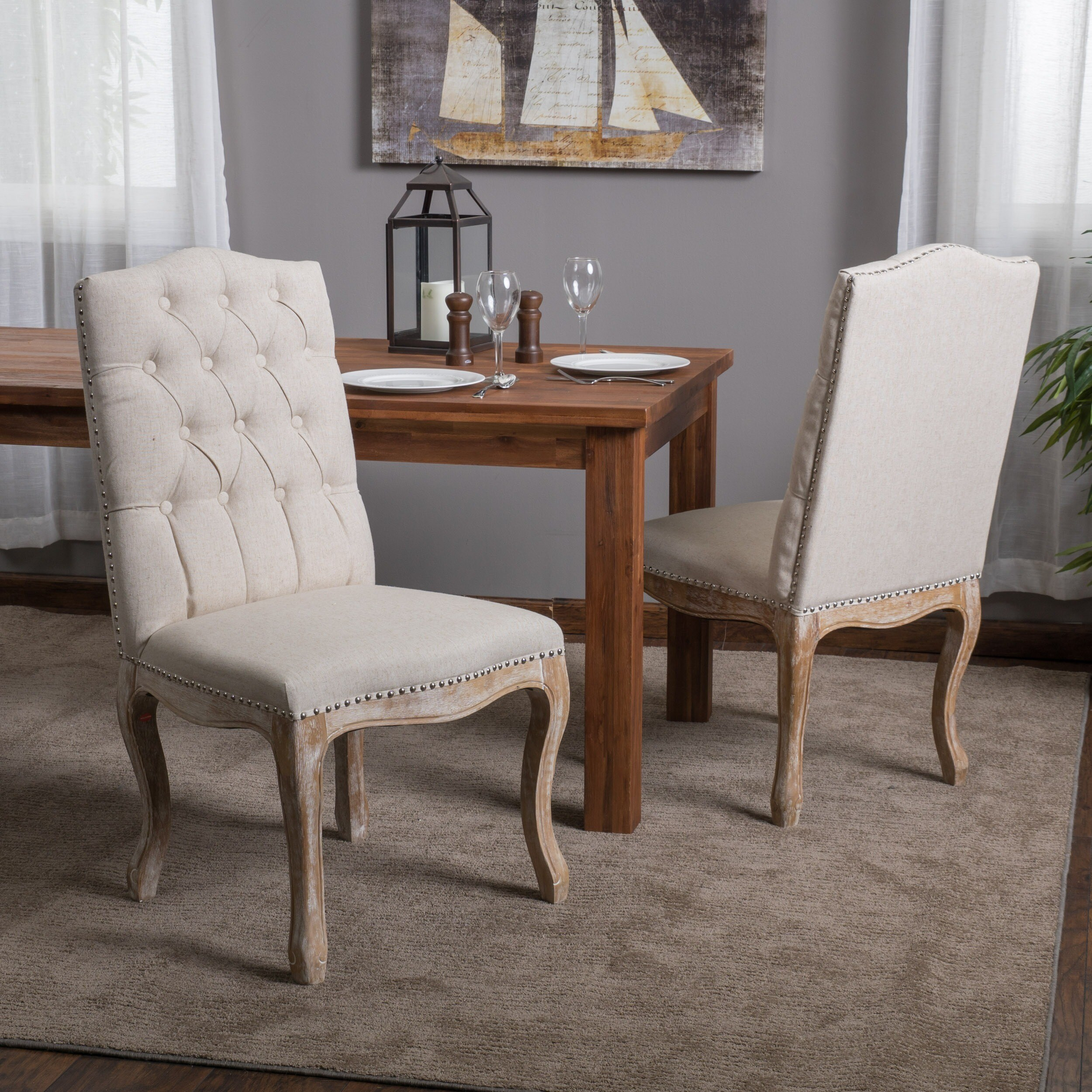 Dinner Chair: Christopher Knight Home Beige Tufted Fabric Weathered