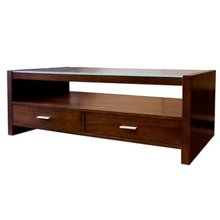 Guildford Glass Top 2-Drawer Coffee Table - Overstock ...