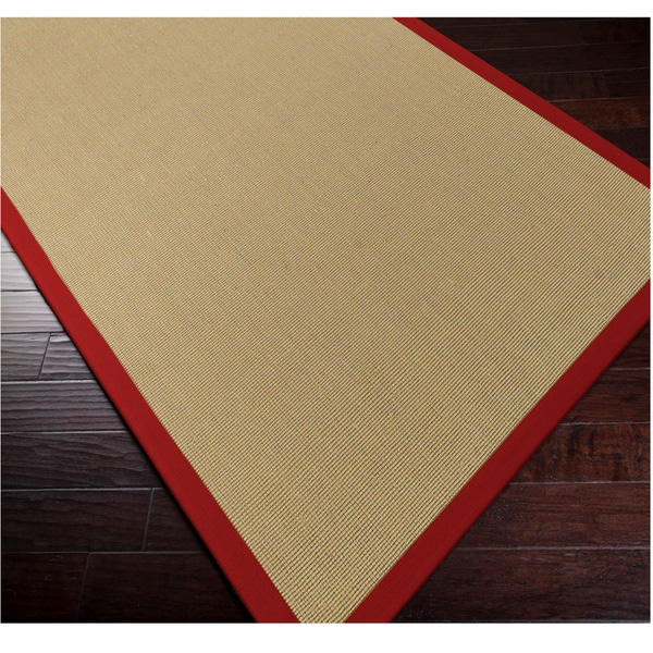 Woven Town Sisal With Cotton Red Border Rug 6 X 9