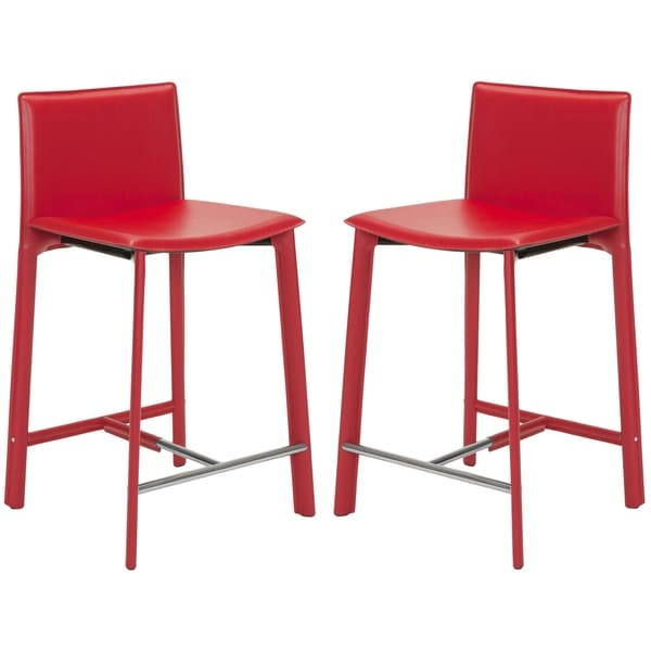 Safavieh 24 6 Inch Madison Ave Red Counter Stool Set Of 2