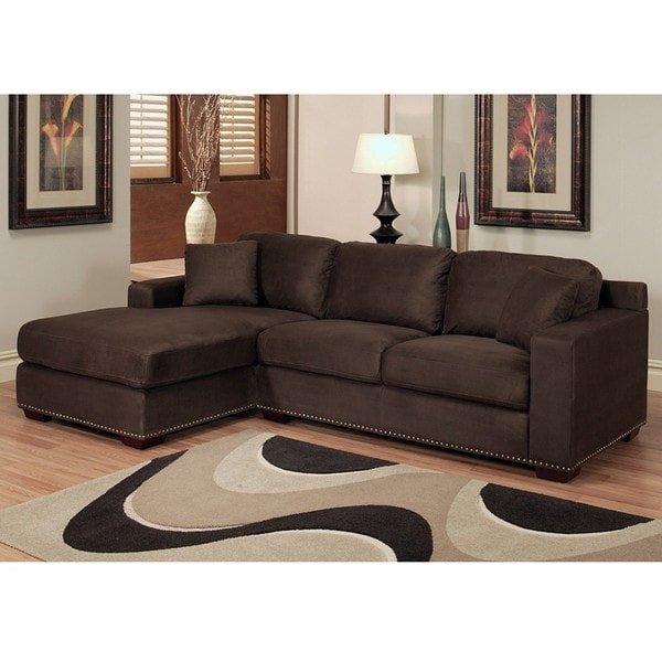 Abbyson Living Monrovia Dark Brown Nailhead-Trim