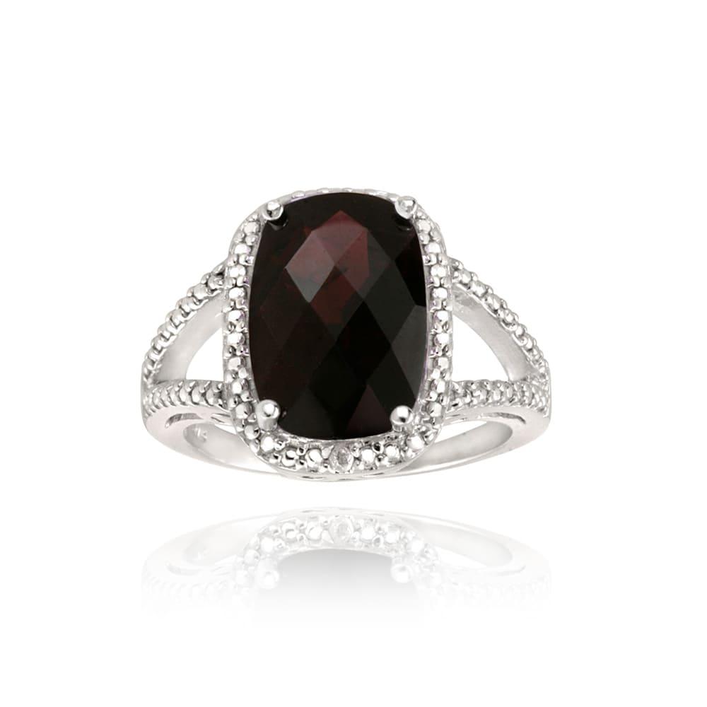 Glitzy Rocks Sterling Silver Garnet And Diamond Accent