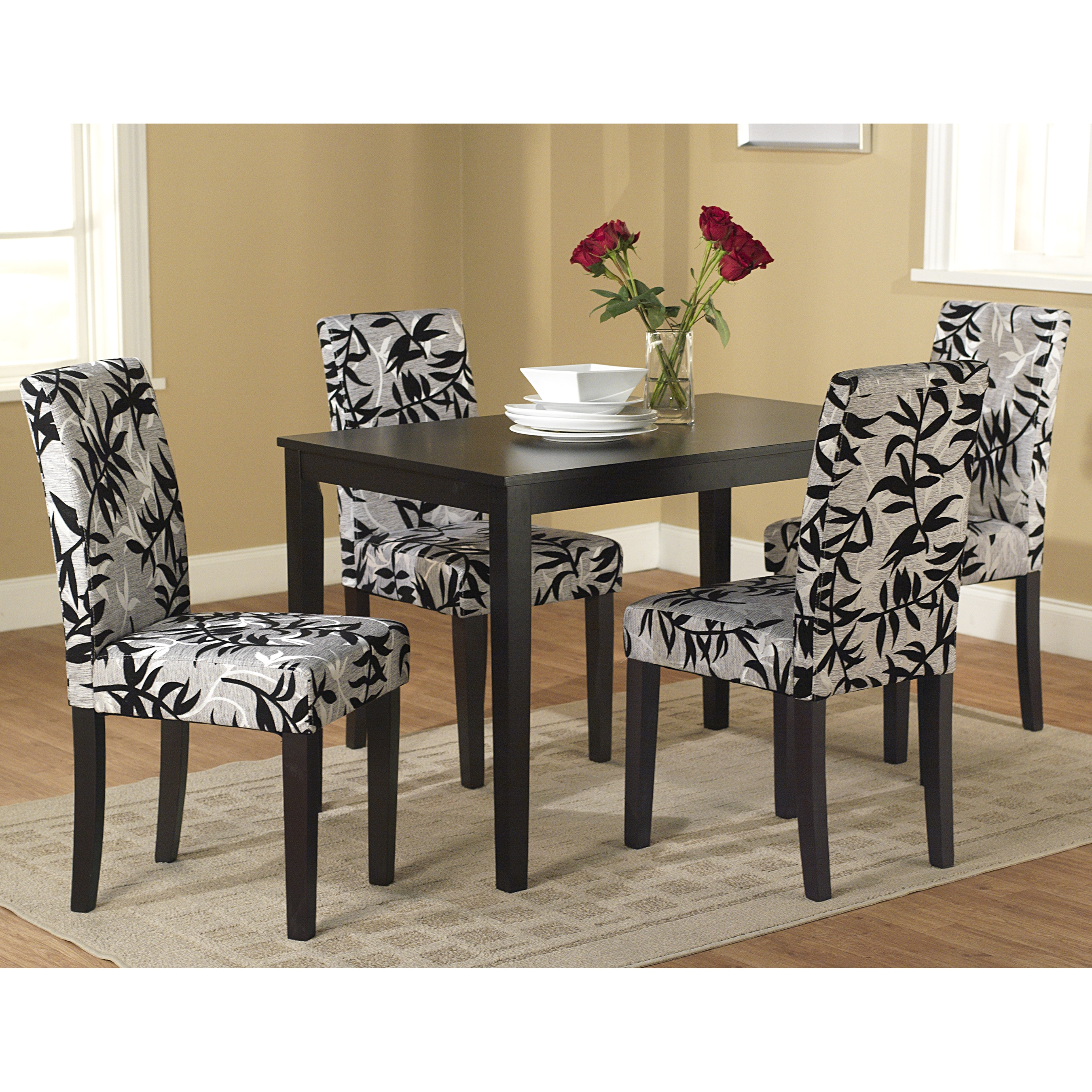 Simple Living Room Furniture Big: Simple Living Parson Black And Silver 5-Piece Dining Table