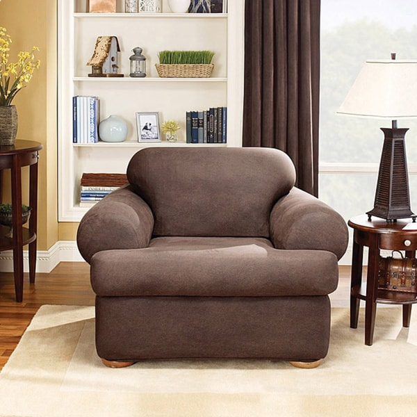 Sure Fit Brown Stretch T Cushion 2 Piece Chair Slipcover
