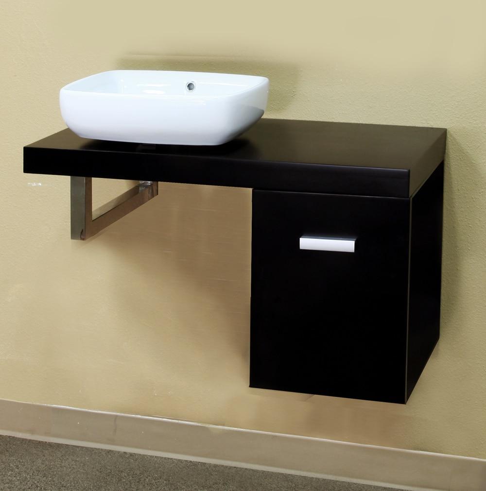 Black 35.4-inch Single Bathroom Vanity and Sink - 14066200 ...