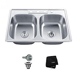 Kraus 33 Inch Topmount 50 50 Double Bowl Steel Kitchen Sink