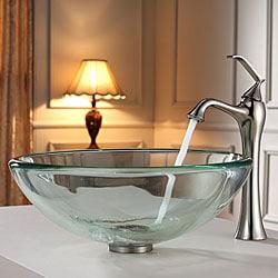 Kraus Bathroom Combo Set White Square Ceramic Vessel Sink