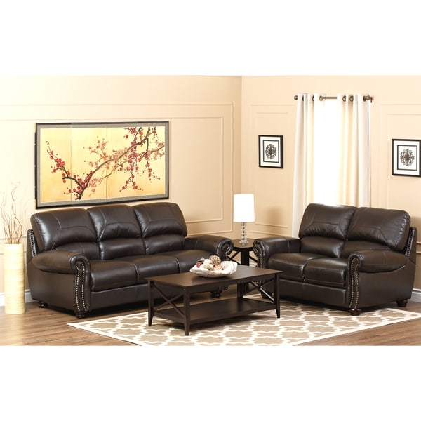 Abbyson Living Monaco Premium Top Grain Leather Sofa And