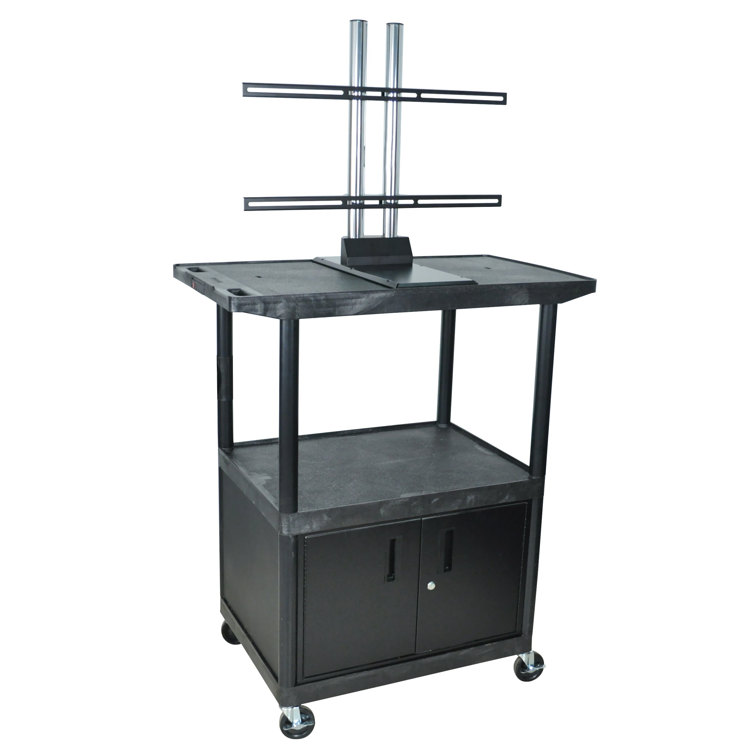 Luxor 48 Inch High Black Plasma Lcd Cart With Locking Cabinet