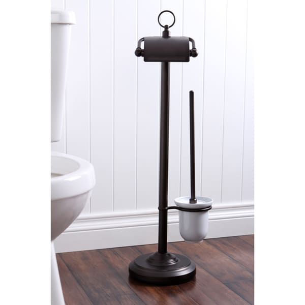 Solid Brass Oil Rubbed Bronze Toilet Paper With Brush