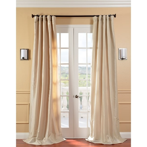 Solid Faux Silk Taffeta Antique Beige 108-inch Curtain