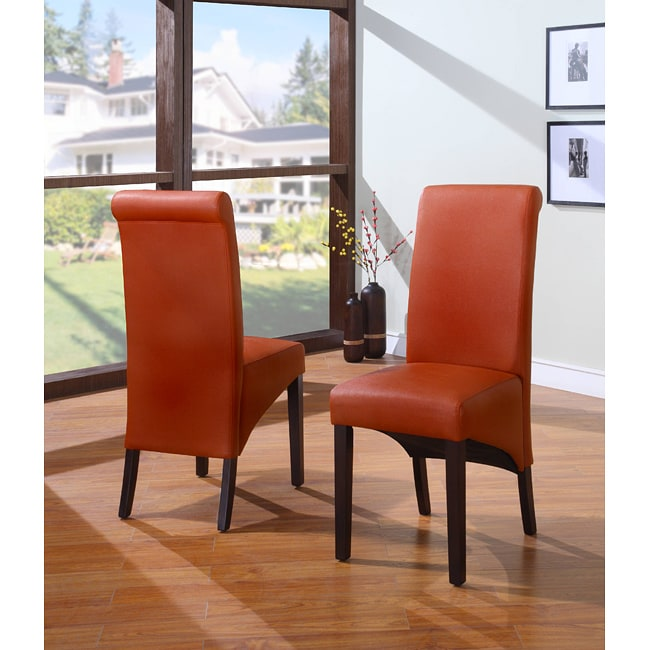 Sleigh Back Orange Parsons Dining Chair (Set Of 2