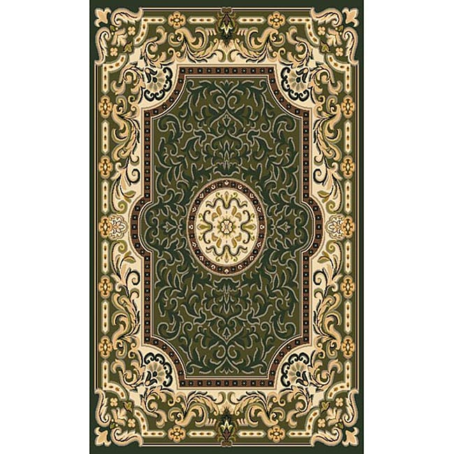 Traditional Area Rugs: Traditional Sage Green Area Rug (5' X 7')