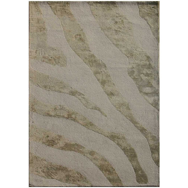 Hand-tufted Wool And Art Silk Grey Zebra Print Rug (2' X 3