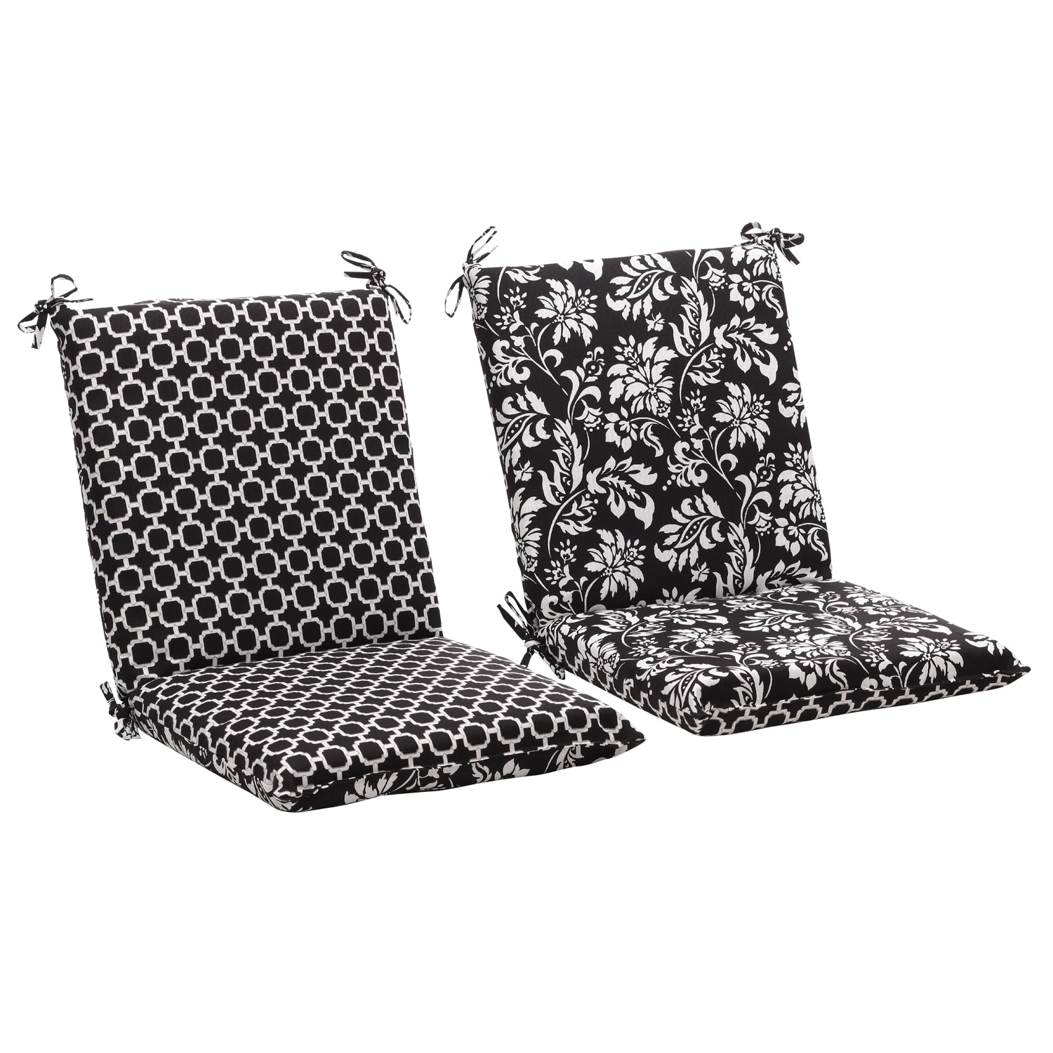 Squared Reversible Black White Geometric Floral Outdoor