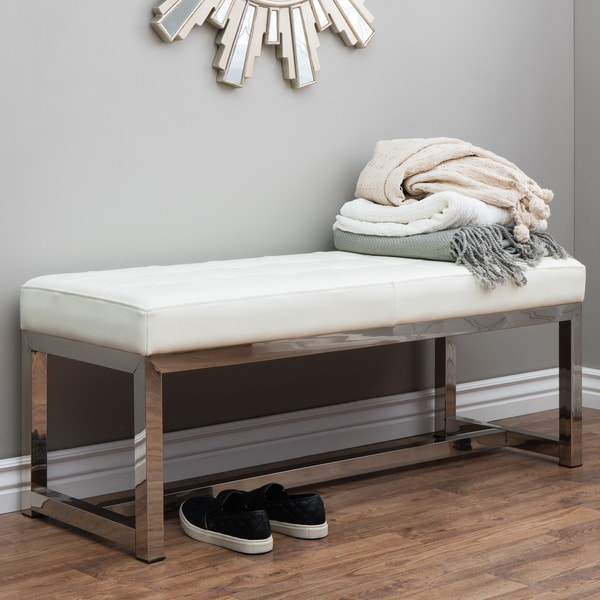 Liberty Modern White Leather Bench 14097459 Overstock
