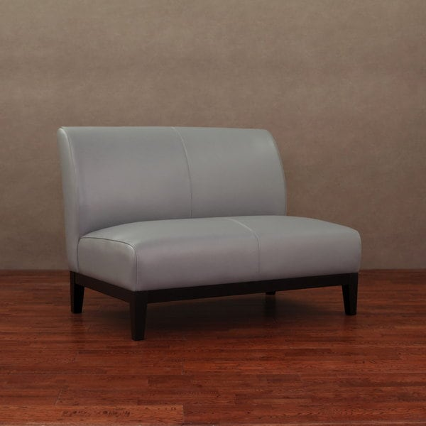 Cole Charcoal Gray Leather Loveseat 14097458 Overstock