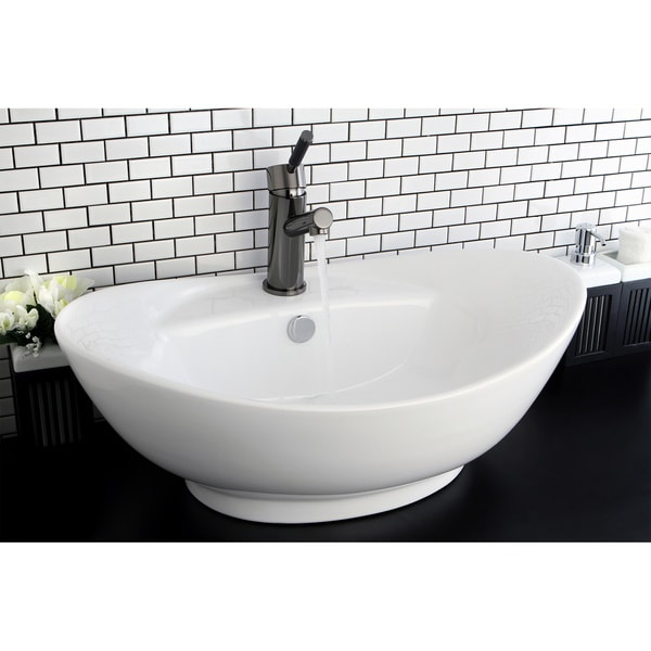 Oval Vitreous China White Bathroom Vessel Sink 14098921