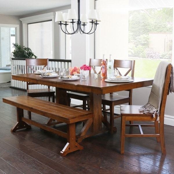 Countryside Chic 6 Piece Antique Brown Wood Dining Set