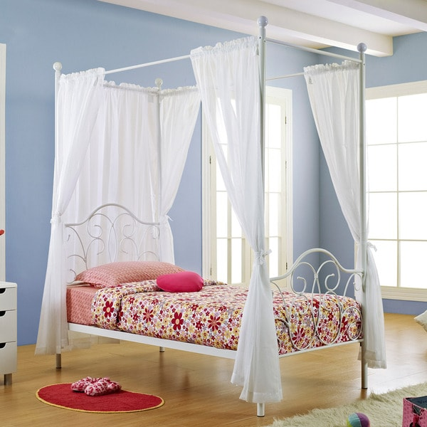 White Metal Twin Size Canopy Bed With Curtains 14099042