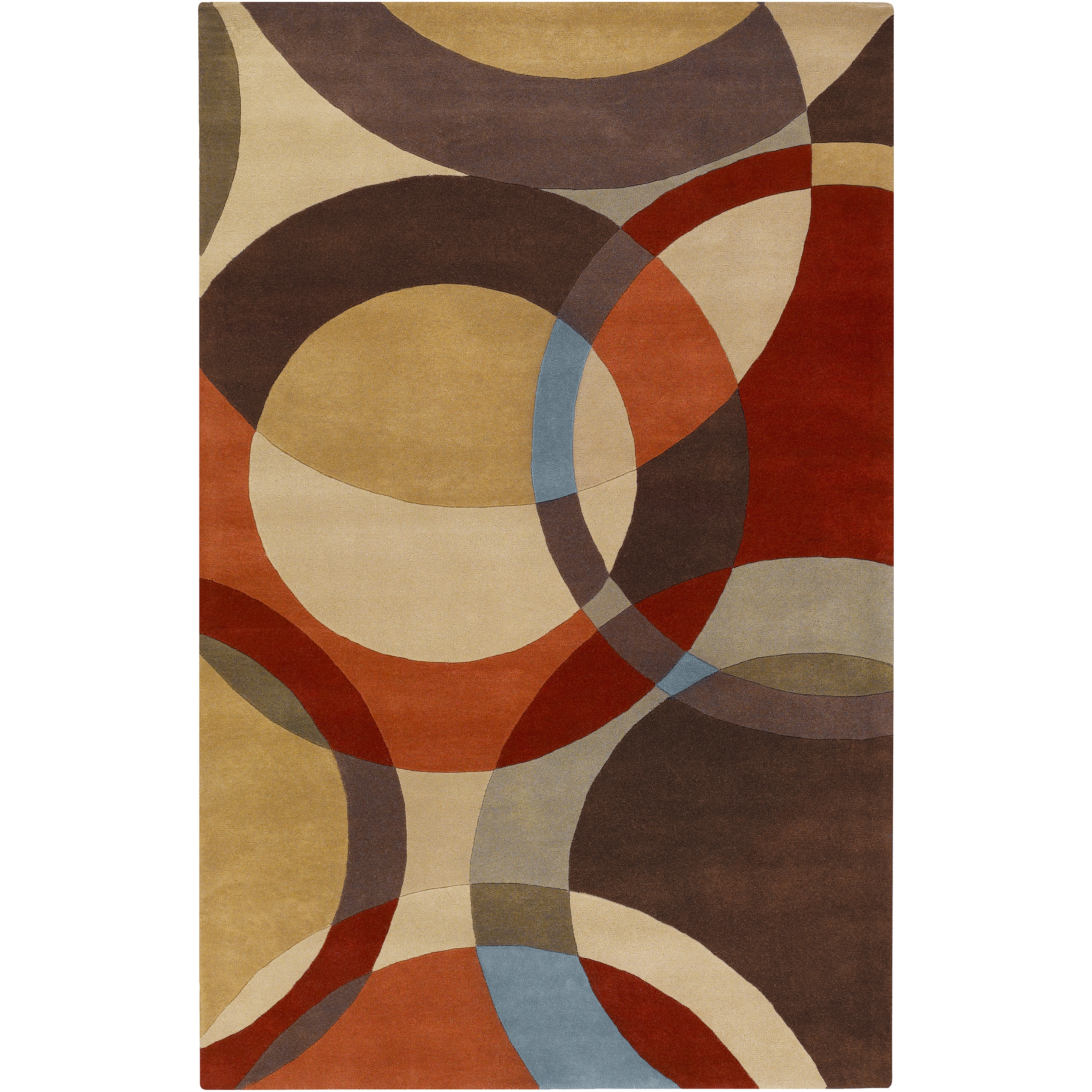 Hand Tufted Contemporary Multi Colored Circles Buxar Wool