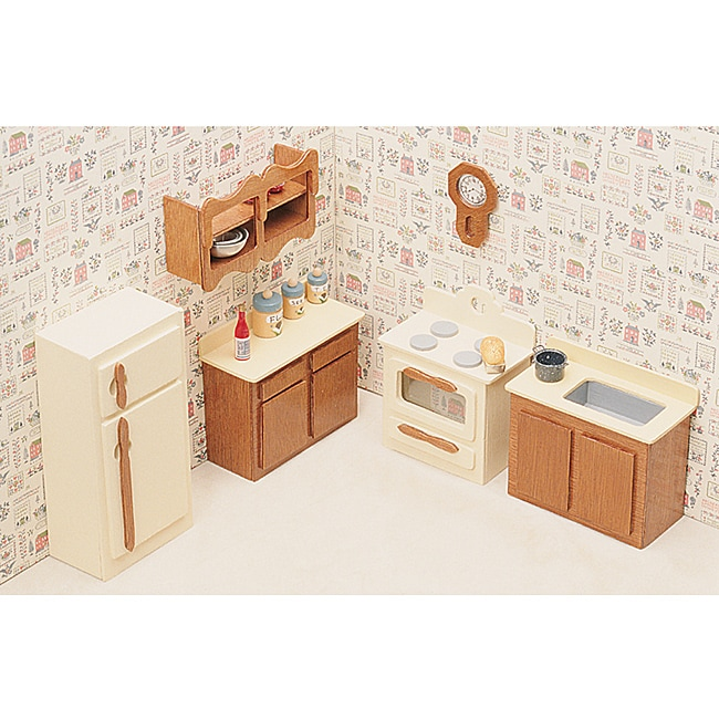 Unfinished Wood Kitchen Dollhouse Furniture Kit 14099775