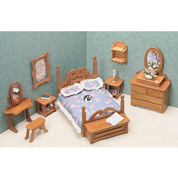 Brown Unfinished-wood Nine-piece Dollhouse Bedroom
