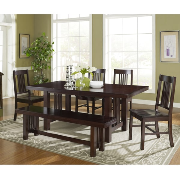 Tribecca Home Acton Warm Merlot X Back Casual Dining Side: 6-piece Contemporary Cappuccino Wood Dining Set With Bench