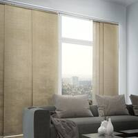"""Chicology Adjustable Sliding Panel, Classic - Natural Woven, Privacy, 80""""W X 96""""H - Nevada Timberwolf"""