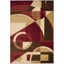 Safavieh Porcello Modern Abstract Red Rug 5 Round