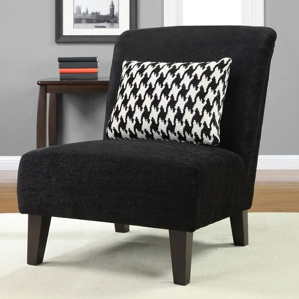 Anna Black Accent Chair With Houndstooth Grande Pillow
