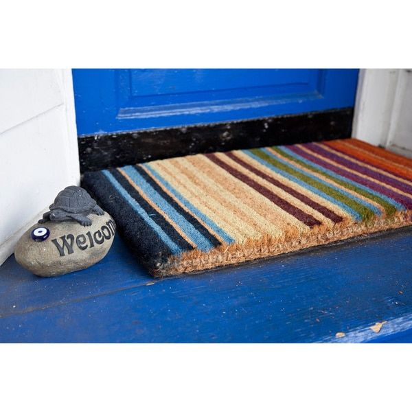 Hand Woven Extra Thick Rainbow Coir Doormat 14112345