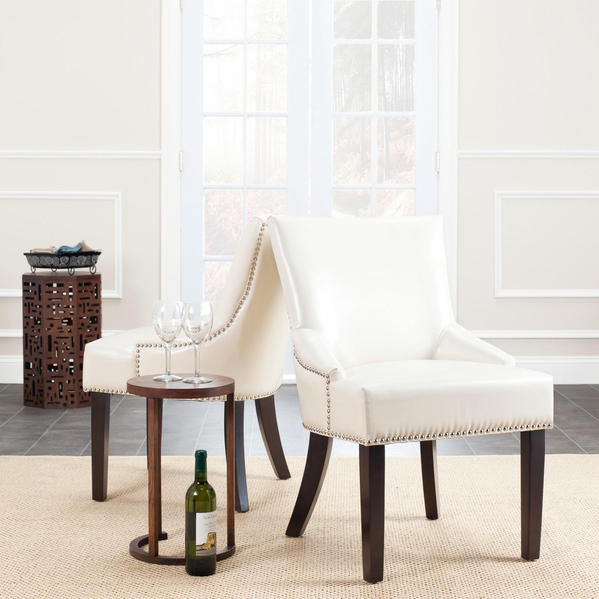 Safavieh Loire Cream Leather Nailhead Dining Chairs (Set