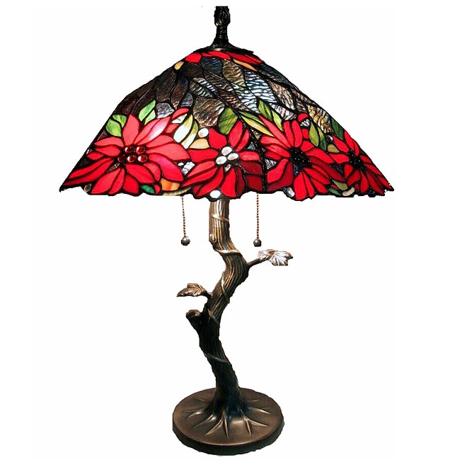 Tiffany Style Tree Base Lamp With Red Shade 944442