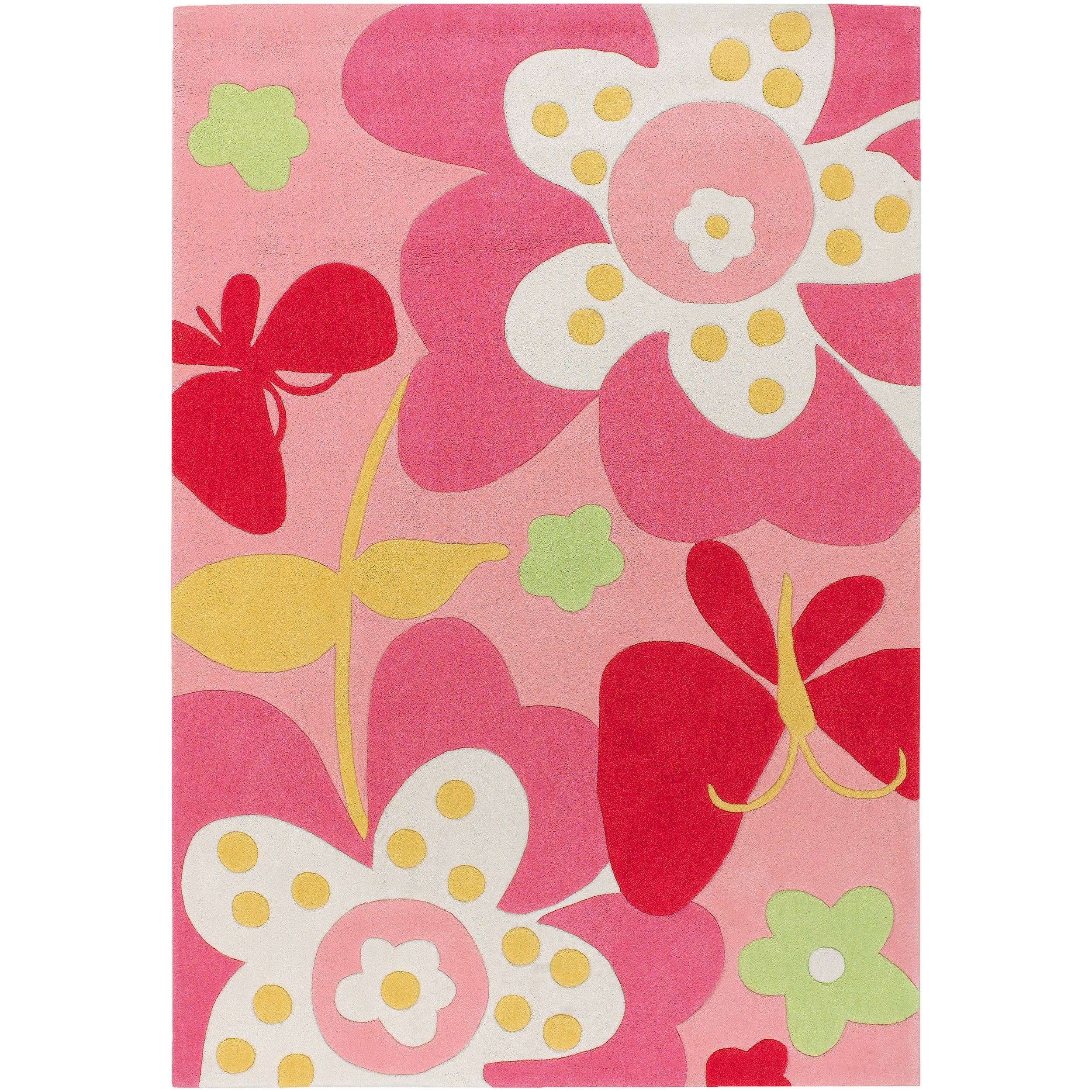 Hand Tufted Pink Machu Floral Rug 3 X 5 Overstock