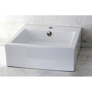 Kraus White Square Ceramic Vessel Sink 11358295