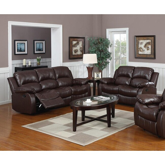 Brown Leather Recliner Sofa Set: Rotunda Brown Bonded Leather Reclining Sofa And Loveseat