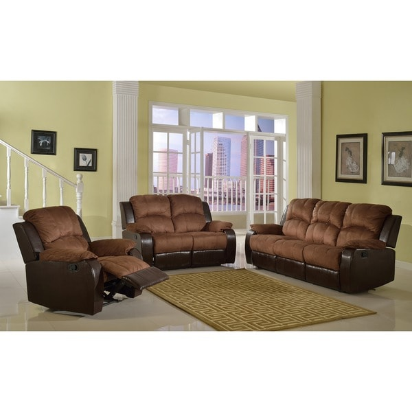 Pamela Two Tone Reclining Sofa Set 14118534 Overstock