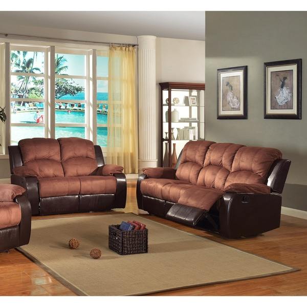 Pamela Two Tone Reclining Sofa And Loveseat Set 14118571