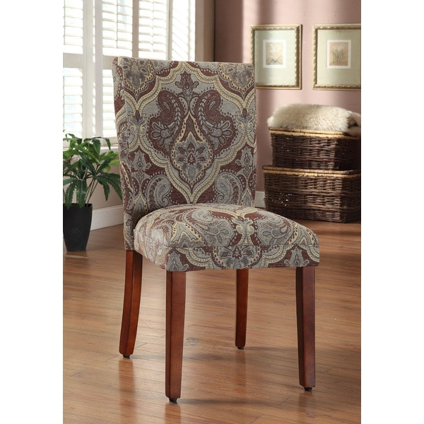 Dining Room Parson Chairs: Blue And Brown Paisley Parson Chairs Set Of 2 Dining