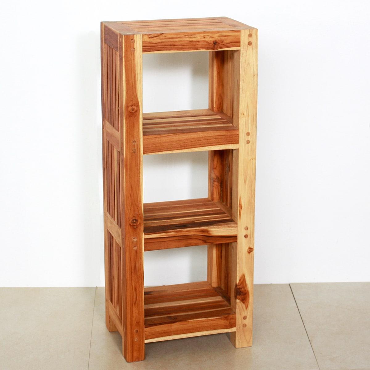 Wooden Shelves For Bathroom: Teak Wood Shelf Tower (Thailand)