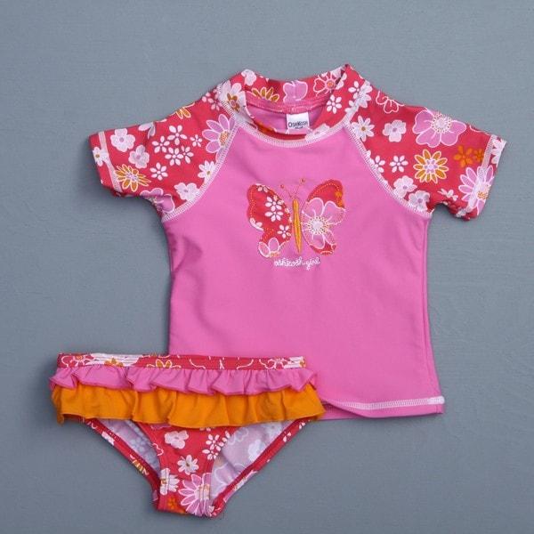 1e24b8f97cde Osh Kosh Toddler Girl s Butterfly 2 piece Rash Guard Swimsuit Osh ...