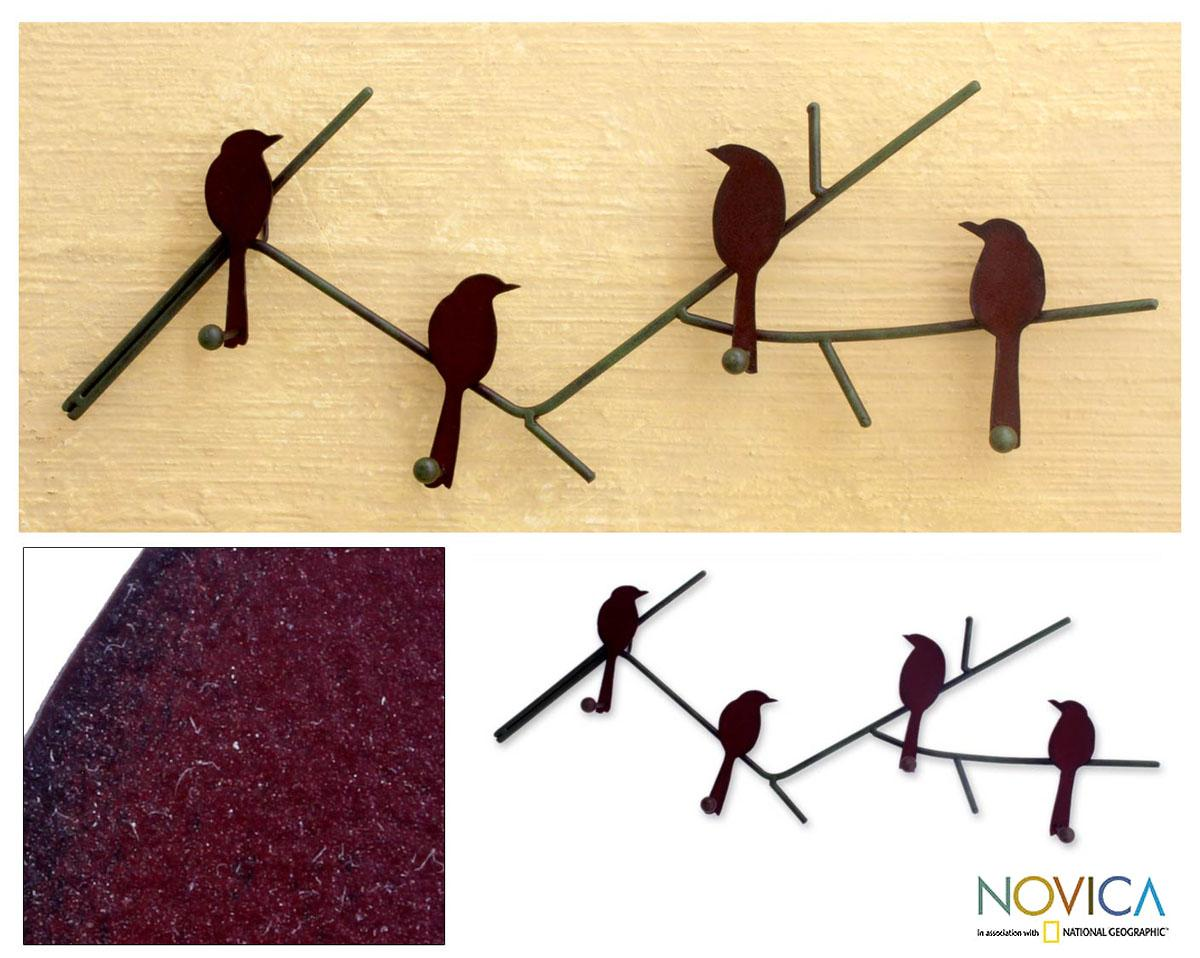 Birds On A Wire Indoor Outdoor Four Peg Hook Key Or Coat